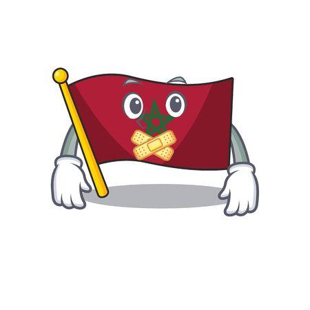 Silent morocco flag sticks to mascot wall vector illustration Reklamní fotografie - 129928924
