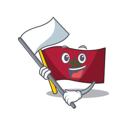 With flag morocco flag sticks to mascot wall vector illustration Reklamní fotografie - 129928928