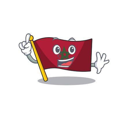 Finger morocco flag sticks to mascot wall vector illustration