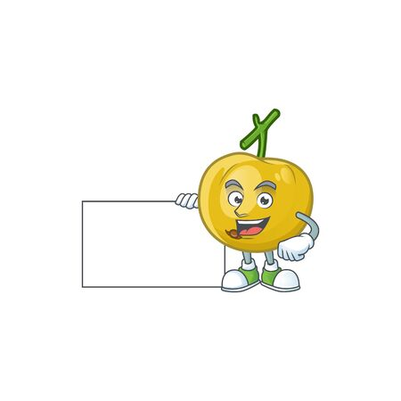 Thumbs up with board araza fruit design character for cartoon mascot vector illustration