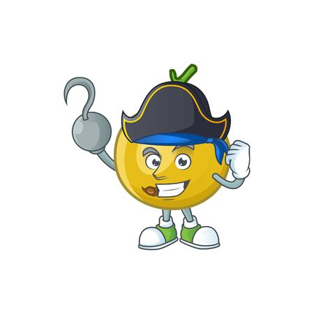 Pirate araza fruit design character for cartoon mascot vector illustration  イラスト・ベクター素材