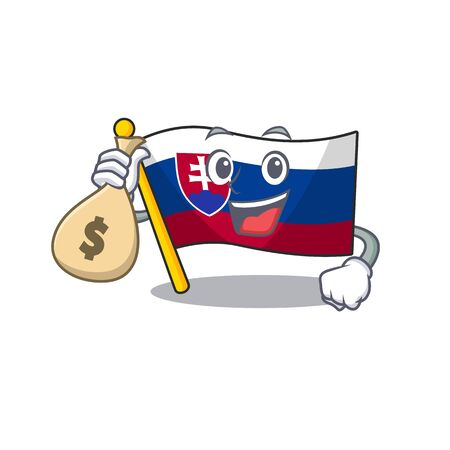 With money bag slovakia cartoon flag fluttering on pole vector illustration