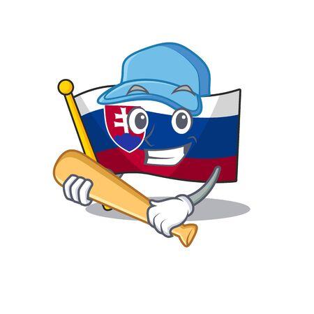 Playing baseball slovakia cartoon flag fluttering on pole vector illustration