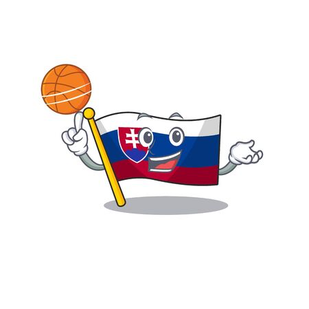 With basketball slovakia cartoon flag fluttering on pole vector illustration