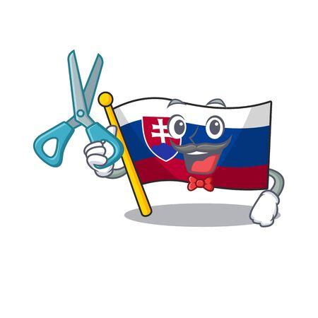 Barber slovakia cartoon flag fluttering on pole vector illustration