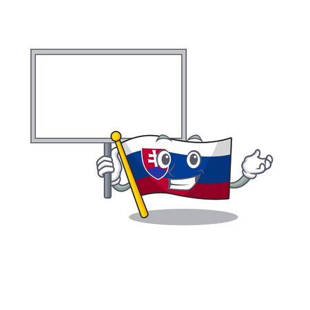 Bring board slovakia cartoon flag fluttering on pole vector illustration Ilustrace