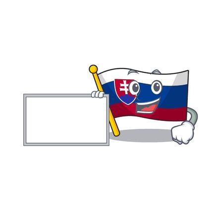 With board slovakia cartoon flag fluttering on pole vector illustration