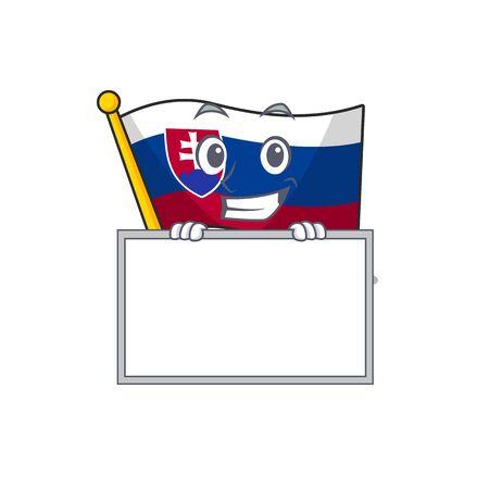Grinning with board slovakia cartoon flag fluttering on pole vector illustration
