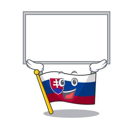 Up board slovakia cartoon flag fluttering on pole vector illustration