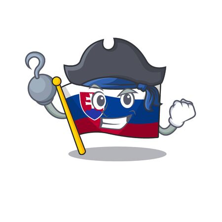 Pirate slovakia cartoon flag fluttering on pole vector illustration Ilustrace