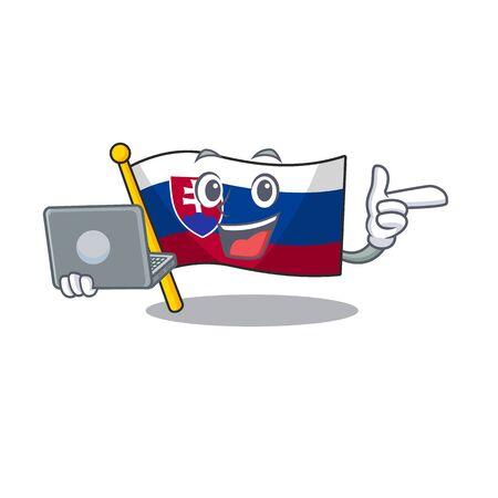 With laptop slovakia cartoon flag fluttering on pole vector illustration