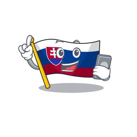 With phone slovakia cartoon flag fluttering on pole vector illustration