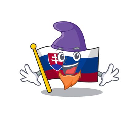 Elf slovakia cartoon flag fluttering on pole vector illustration