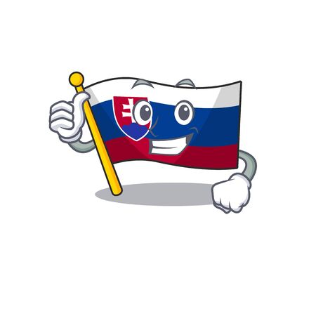 Thumbs up flag slovakia with the shape character vector illustration Ilustrace