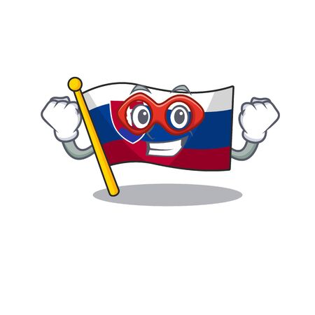 Super hero flag slovakia with the shape character vector illustration