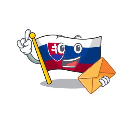 With envelope flag slovakia with the shape character vector illustration Stock Illustratie