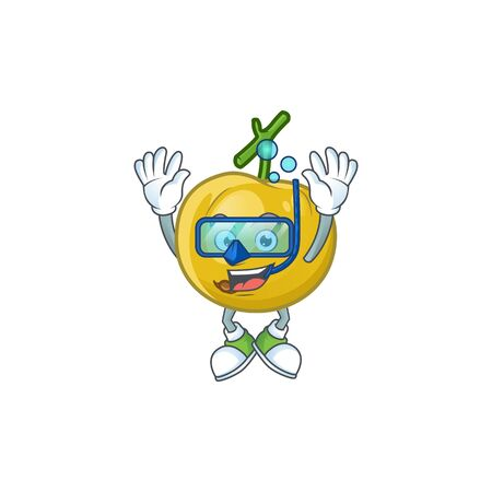 Diving fresh araza character on white background