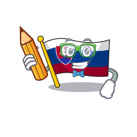 Student flag slovakia with the shape character vector illustration