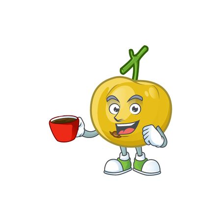 Drinking in cup fresh araza character on white background vector illustration