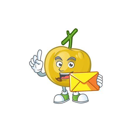 With envelope fresh araza character on white background vector illustration