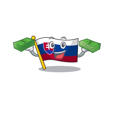 With money flag slovakia isolated in the cartoon vector illustration