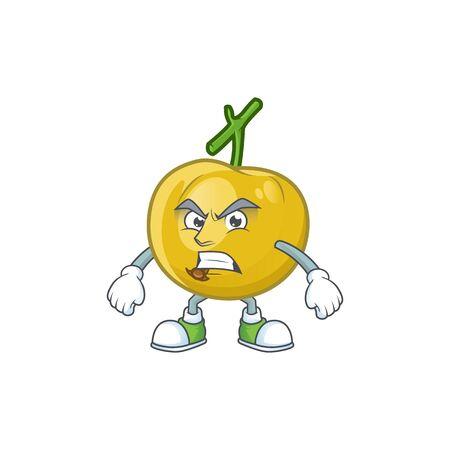 Angry fresh araza character on white background  イラスト・ベクター素材