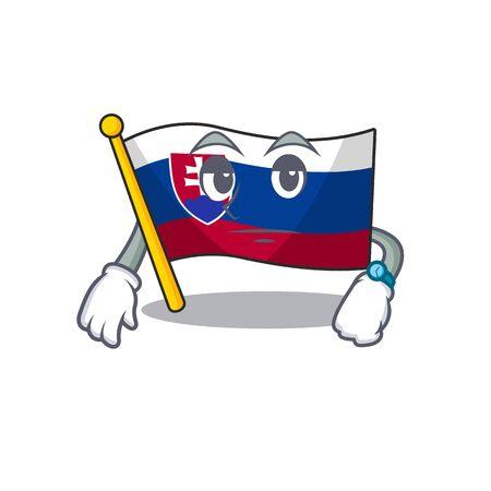 Waiting flag slovakia folded cartoon thr drawer vector illustration