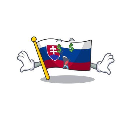 Money eye flag slovakia folded the cartoon drawer vector illustration