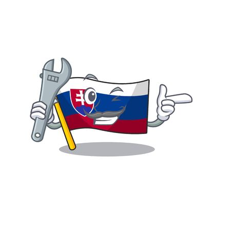 Mechanic flag slovakia folded the cartoon drawer vector illustration