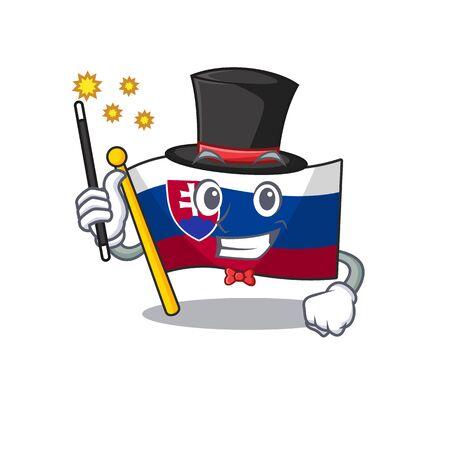 Magician flag slovakia folded the cartoon drawer vector illustration