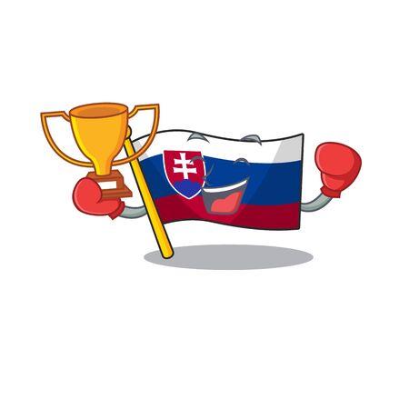 Boxing winner flag slovakia folded the cartoon drawer vector illustration