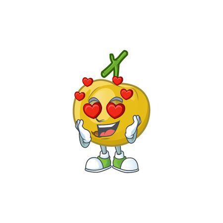 In love ripe araza cartoon with character mascot Illusztráció