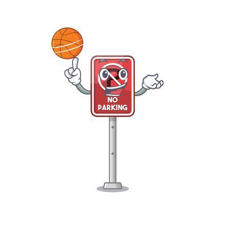 With basketball no parking mascot shaped on cartoon vector illustration Illustration