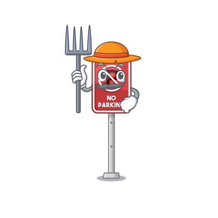 Farmer no parking mascot shaped on cartoon vector illustration Illustration