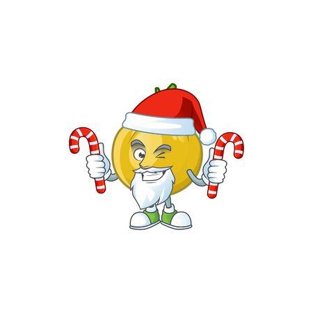Santa with candy sweet araza in cartoon mascot style