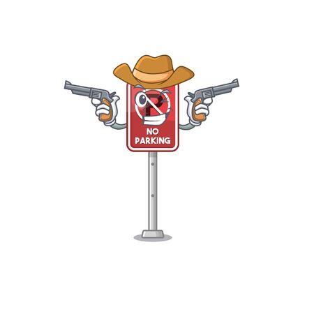 Cowboy no parking mascot shaped on cartoon vector illustration Illustration