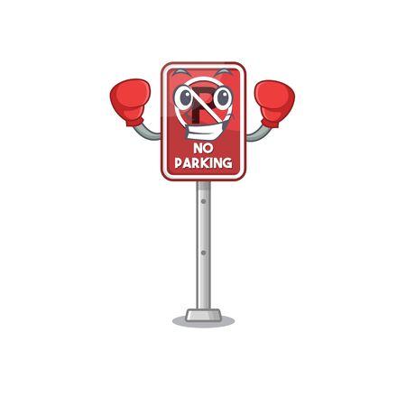 Boxing no parking mascot shaped on cartoon vector illustration
