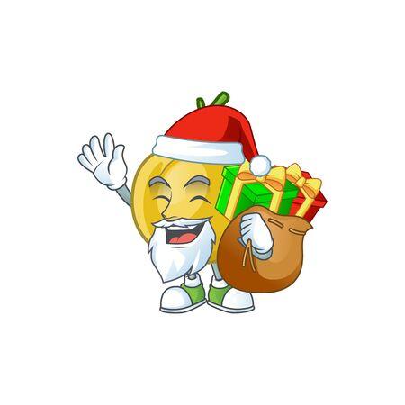 Santa with gift sweet araza in cartoon mascot style