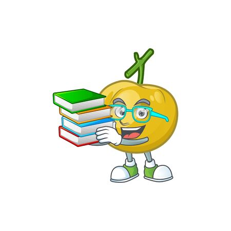Student with book sweet araza in cartoon mascot style