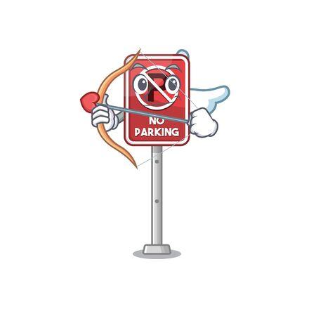 Cupid no parking mascot shaped on cartoon vector illustration