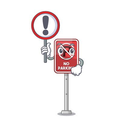 With sign no parking mascot shaped on cartoon vector illustration Illustration
