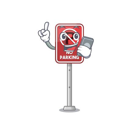 With phone no parking mascot shaped on cartoon vector illustration