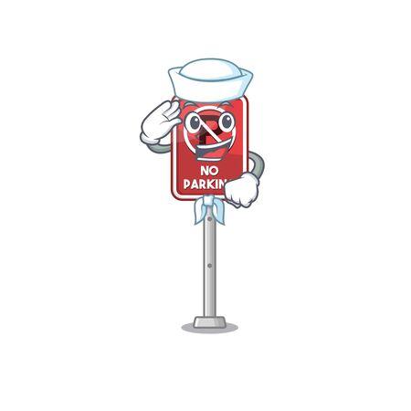 Sailor no parking mascot shaped on cartoon vector illustration