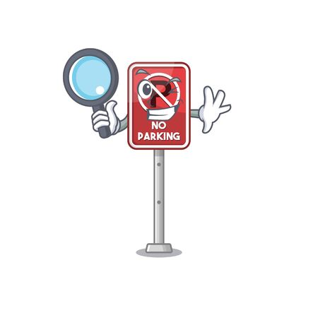 Detective no parking isolated in the mascot vector illustration