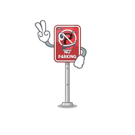 Two finger no parking isolated in the mascot vector illustration