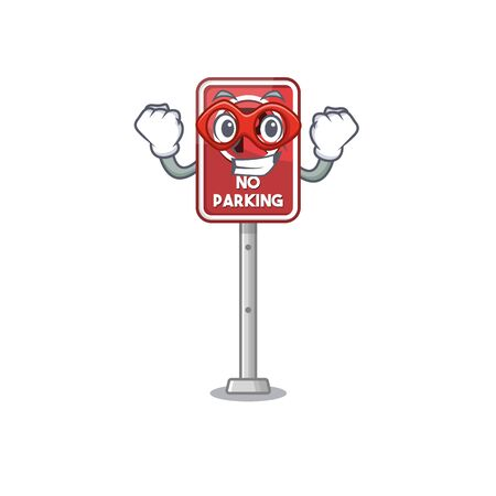 Super hero no parking isolated in the mascot vector illustration Illustration