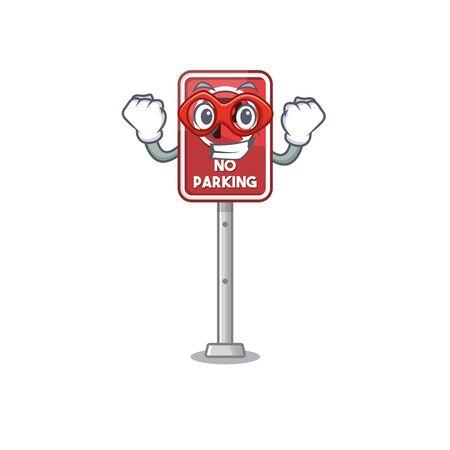Super hero no parking isolated in the mascot vector illustration Illusztráció