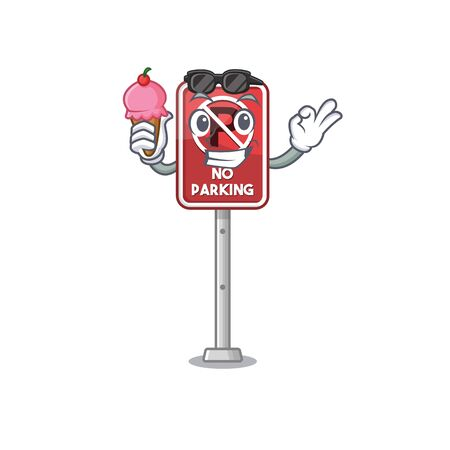 With ice cream no parking isolated in the mascot vector illustration