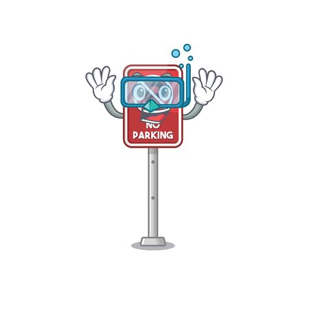 Diving no parking isolated in the mascot vector illustration