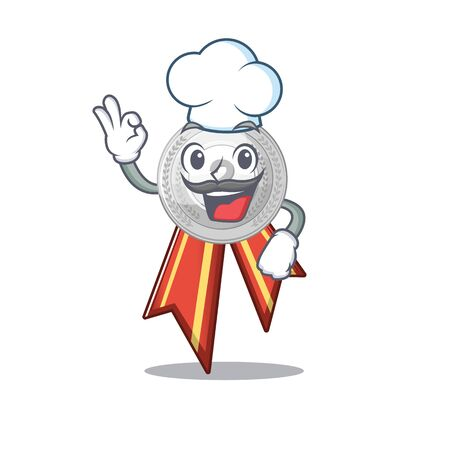 Chef silver medal isolated with the character vector illustration